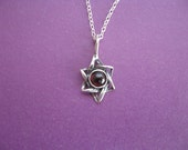 Simple Star Necklace, Star of David  Necklace With Garnet, Sterling Silver Star, Gift for Her, Jewish Star Necklace