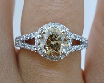 Fancy Champagne Brown Diamond Engagement Ring 1.72 Carat 14k White Gold Handmade Halo Certified