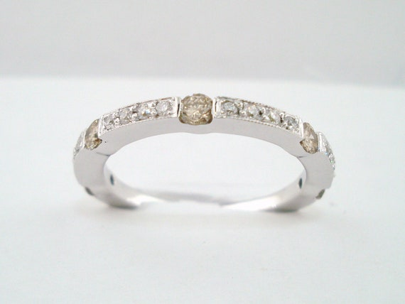 0.46 Carat  Half Eternity 14K White Gold Wedding Anniversary Champagne & White Diamond  Band Canal And Pave Set handmade