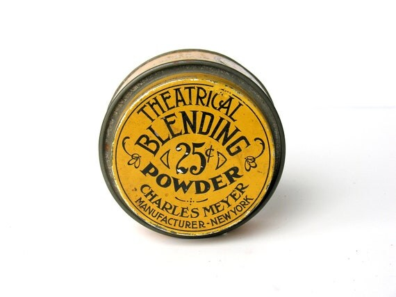 Antique Theatrical Powder Tin Charles Meyer Theater Makeup Gold Black Graphics