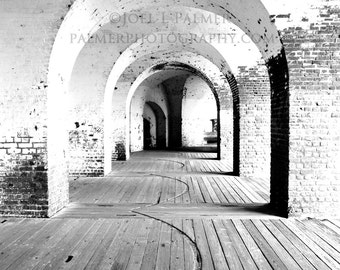 Black and White Arches in Fort Pulaski Tybee Island Savannah Georgia Military Architecture Photography Print