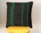 SALE - OOAK hand embroidered  black and green collarette square pillow cover