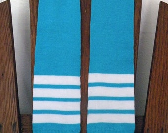 Leg Warmers for Boys and Girls - Old School Baseball Stripes in Bright Blue and White