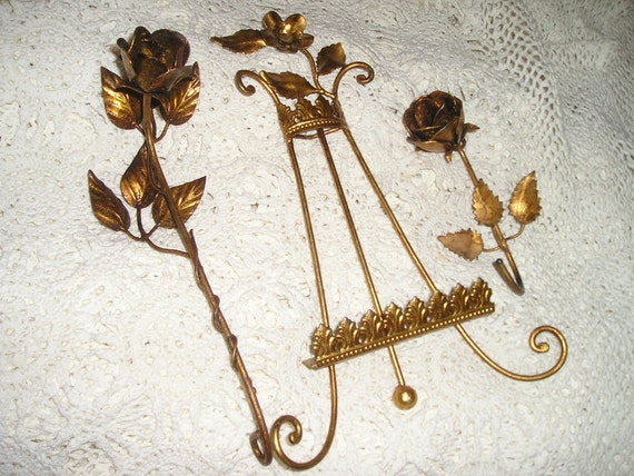 Fabulous Vintage Trio of Italian Gold Gilt Tole metal Roses Easel/Stand,Rose candle snuffer&Hook Chic
