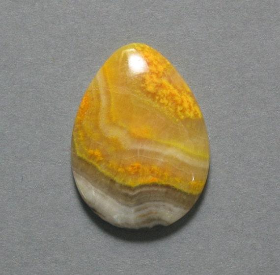 cabochon yellow orange MUSTARD JASPER drop 22X29mm pear designer cab