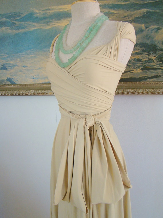 Key West Khaki- Octopus Convertible Wrap Gown-Long Infinity Dress