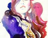 Print of a Watercolor Fashion Illustration. Titled - Lykka