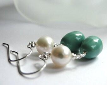 LAST CALL SALE Jewelry, Earrings, Dangle Earrings, Bridal Earrings, Spring Earrings, Swarovski Glass Pear Earrings, Freshwater Pearls