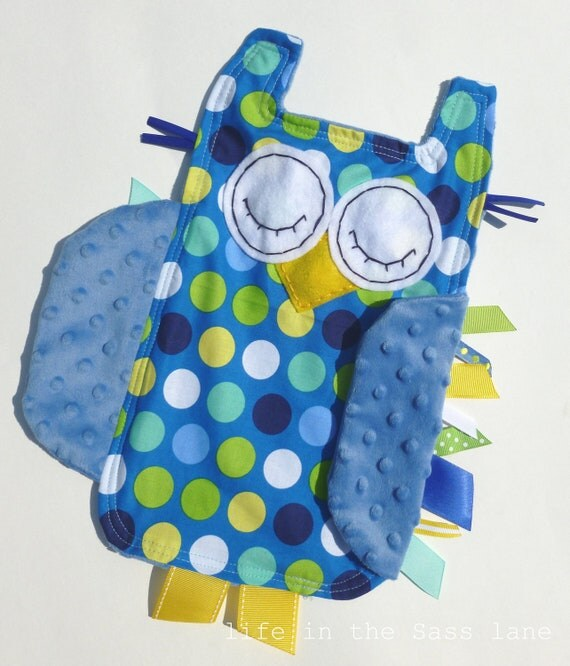 Polka Dots OWL Ribbon Tag Baby Blanket in Blue, Green, Yellow and White with Blue Minky Blankie Lovey Lovie Baby Gift