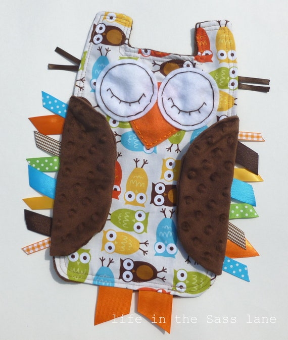 Urban Zoologie Cream Owls Ribbon Tag Baby Blanket and Chocolate Brown Minky Blankie Lovey Lovie Baby Gift Orange, Yellow, Lime, Turquoise