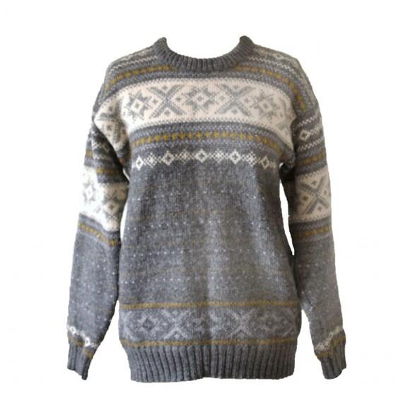 Vintage 1970s grey Norwegian Scandinavian fairisle knit pure wool jumper sweater large