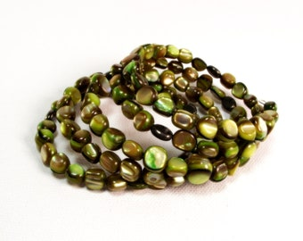 Memory Wire Bracelet - Green With Envy Mother of Pearl and Pyrite Wrap Bracelet