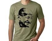 Gandhi peace activist guys T-shirt screenprinted Tee