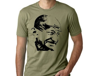Gandhi peace activist guys T-shirt screenprinted Tee