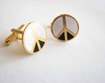 peace sign cuff links - mens cufflinks - vintage black white & gold enamel / boho hippie accessories