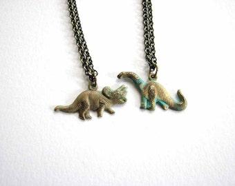 tiny dinosaur necklace - choose your dino - triceratops vs. brontosaurus / apatosaurus - verdigris green patina