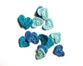 Blue hearts applique - crochet hearts applique - hearts embellishment - tiny hearts - blue wedding decorations favors - set of 15