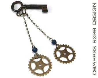 Gear Earrings - Brass Bicycle Sprocket Gear - Long Dangle Earrings - Blue