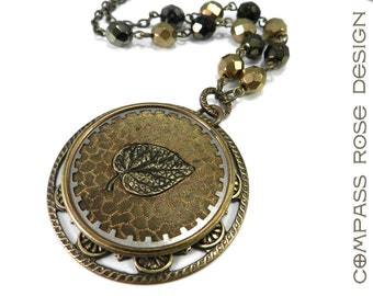 Victorian Jewelry, Antique Button Necklace - Victorian Jewelry - Gold Bronze Botanical Theme - Large - Cut Steel Button 1880-1920