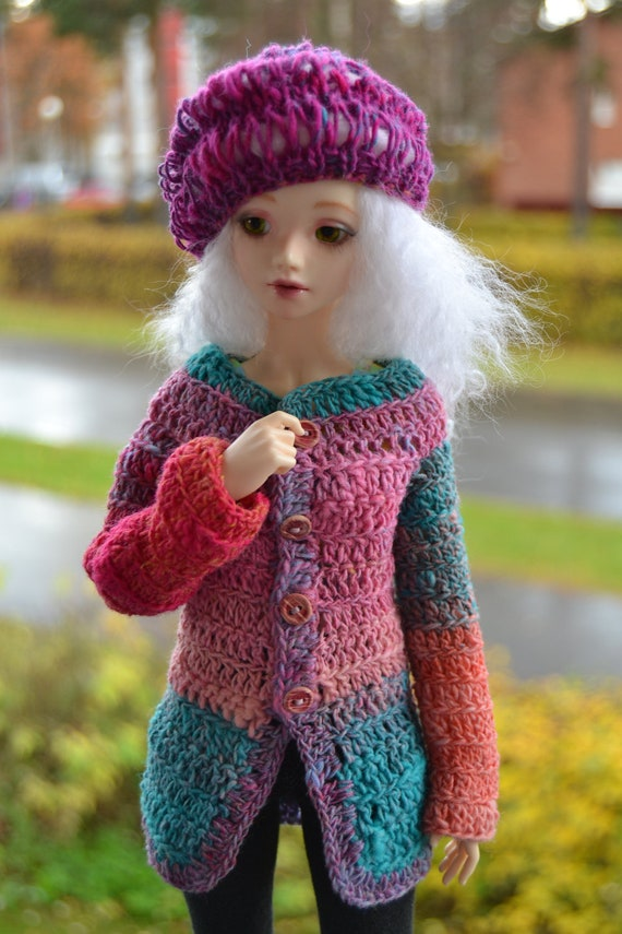 Ragdoll, crochet cardigan and knitted hat for slim MSD sized dolls, knitted from Noro Kureyon yarn, end of the year SALE
