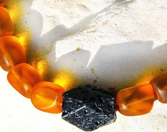 Artisan Santorini Necklace, Black Lava Stone Necklace, OOAK Big Statement Necklace, Frosted Matted Tumbled Glass, Amber Orange and Black