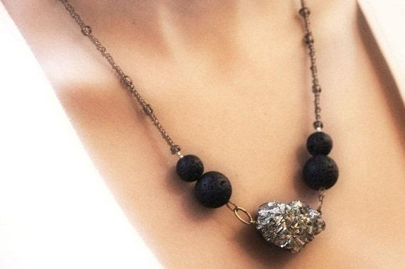 Raw Druzy Pyrite Necklace - Black Lava Stone - tagt
