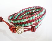 Wrap Bracelet with Turquoise Magnesite Red Leather