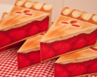 Cherry Pie Favor Box : DIY Printable PDF - Instant Download