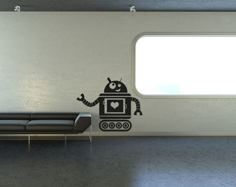 Vinyl Wall Decal Sticker Heart Robot OSAA201B