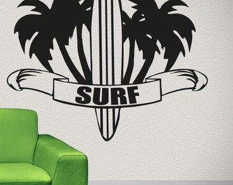 Vinyl Wall Decal Sticker Palm Trees and Surf OSAA1233m