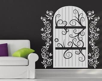Vinyl Wall Decal Sticker Wooden Door with Vines OSDC637s