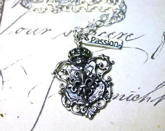 The Royal Fleur-de-Lis Coat of Arms Necklace in Sterling Silver - Swarovski Crystal Adjustable Pendant