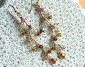 Tourmaline Leafy Gold Drop Earrings, Watermelon Tourmaline,Gemstone Gold Earrings