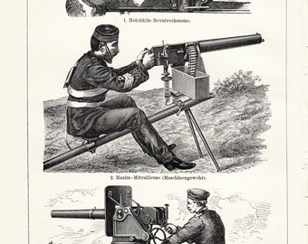 1908 edwardian CANNONS print of older model guns, revolver cannon, machine gun, antique MILITARY  lithograph