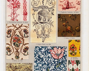 1908 Edwardian FINISHED PRINTING print, old pattern designs, 104 years old fine antique lithograph
