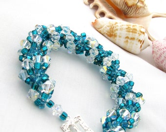 Aqua and Teal Swarovski Crystal Spiral Bracelet