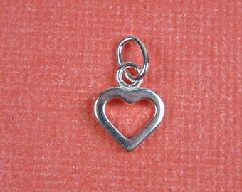 Sterling Silver Tiny Open Heart Charm