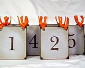 Pumpkin table numbers, vintage inspired rustic fall wedding place cards, rustic wedding decor, table number card, set of 15 party decor