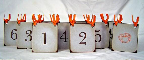 Rustic wedding table numbers, vintage inspired pumpkin table numbers fall wedding table numbers rustic weddings, table number card set of 15