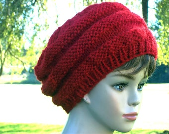 Slouch Hat Women Knit Honeycomb Style Red Slouchy Beret