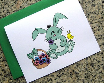 zombie bunny rabbit easter / spring greeting cards / notecards / thank you notes (blank or custom inside) with green envelopes - set of 10