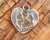 Personalized Custom Dog Paw Print in Heart Charm Pendant Necklace