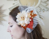 KORDELIA -- Ivory, Champagne, Gold and Burnt Orange Autumn Bridal Flower Fascinator Hair Piece Perfect for a Fall Wedding
