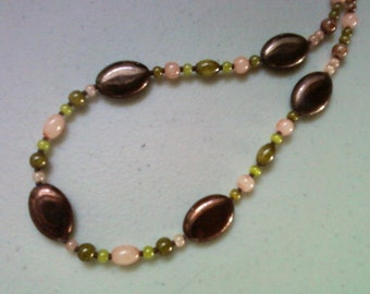 Bronze, Pink and Green Necklace (0666)