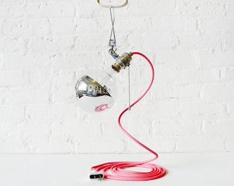DIY Clip Clamp Light Lamp w/ Giant Silver Bowl with ANY Color Cord