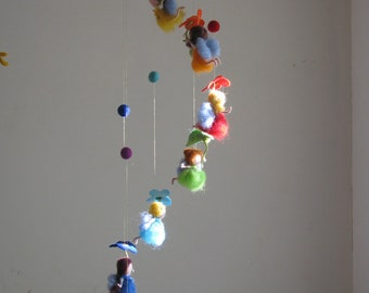 waldorf inspired Rainbow fairies needle felted mobile made to order