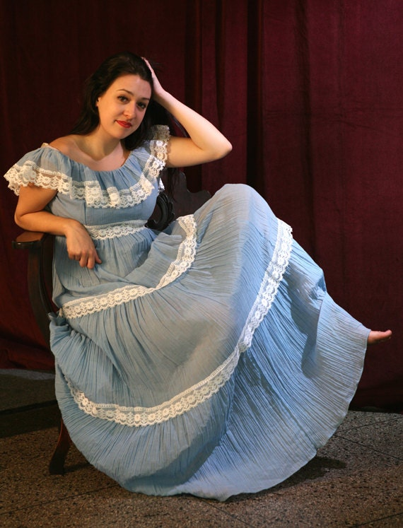 Charming Vintage 60s Blue Boho Granny Peasant Maxi Dress, S or M