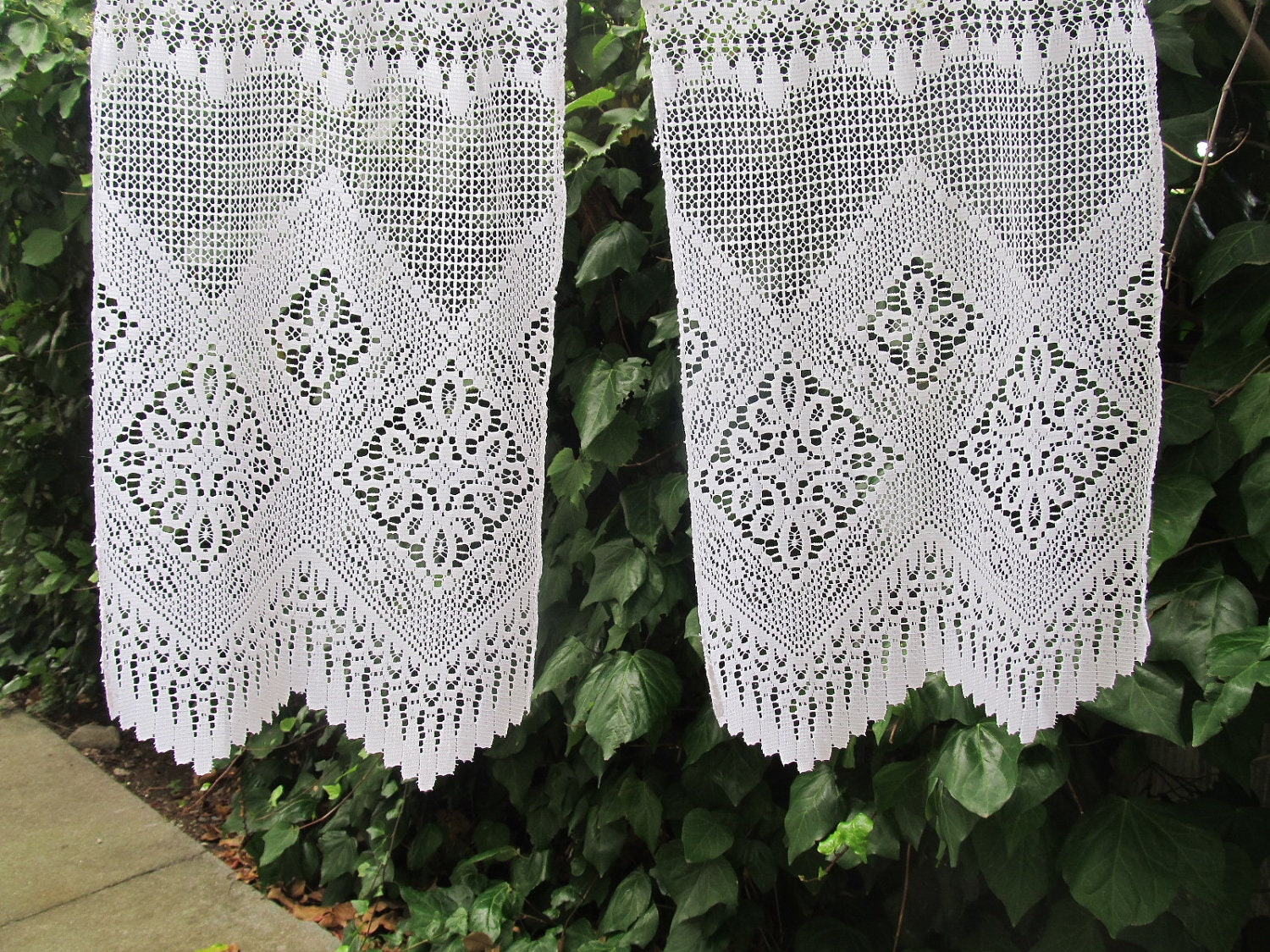 vintage cafe curtain french lace valance lace by LinenAndLetters