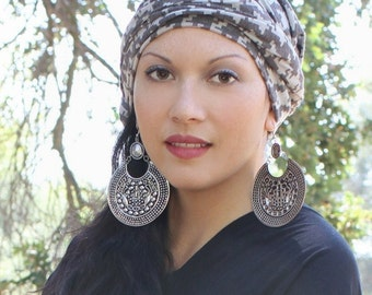 Taupe Houndstooth Turban Head Wrap Chemo Alopecia, Turban Hat & Scarf Set