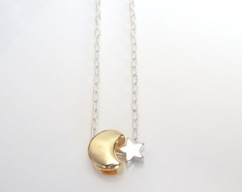 Star Moon Necklace - teeny silver star with tiny gold crescent moon on delicate little silver plated chain